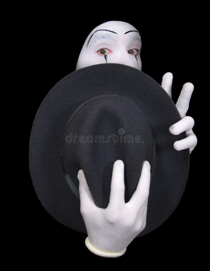 Überraschter Pantomime mit einem Hut lizenzfreie stockfotos