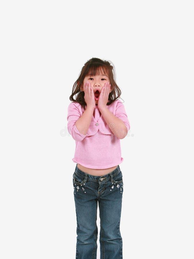 Überraschtes asiatisches Mädchen lizenzfreie stockfotos