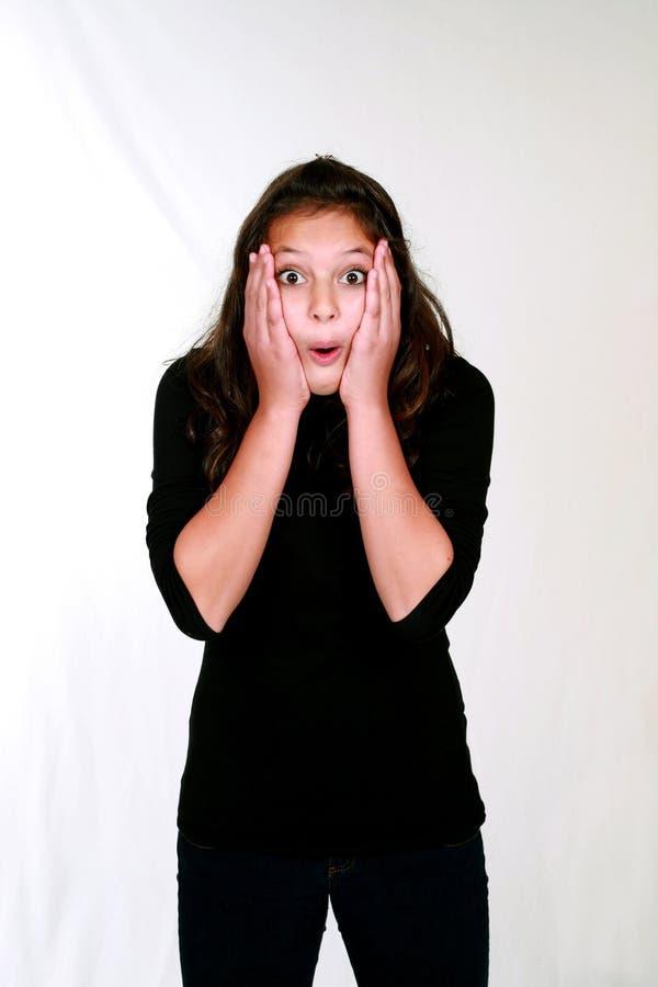 Überraschtes jugendliches Mädchen lizenzfreie stockbilder