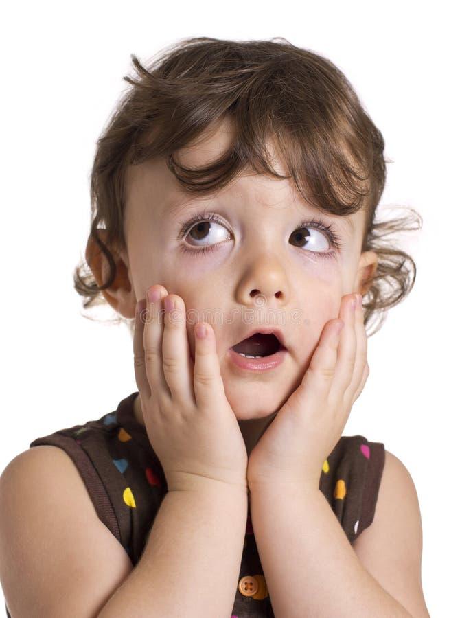 Überraschtes Mädchen stockfoto