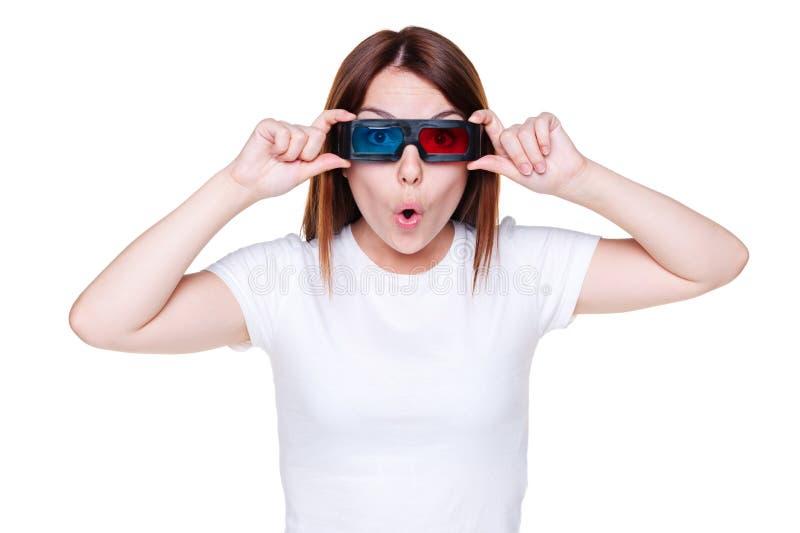 Überraschtes Mädchen In Den Stereogläsern Stockfotos