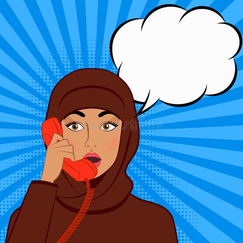 Überraschtes Mädchen im hijab mit Telefonhörer auf Comic-Buch-Hintergrund lizenzfreie abbildung