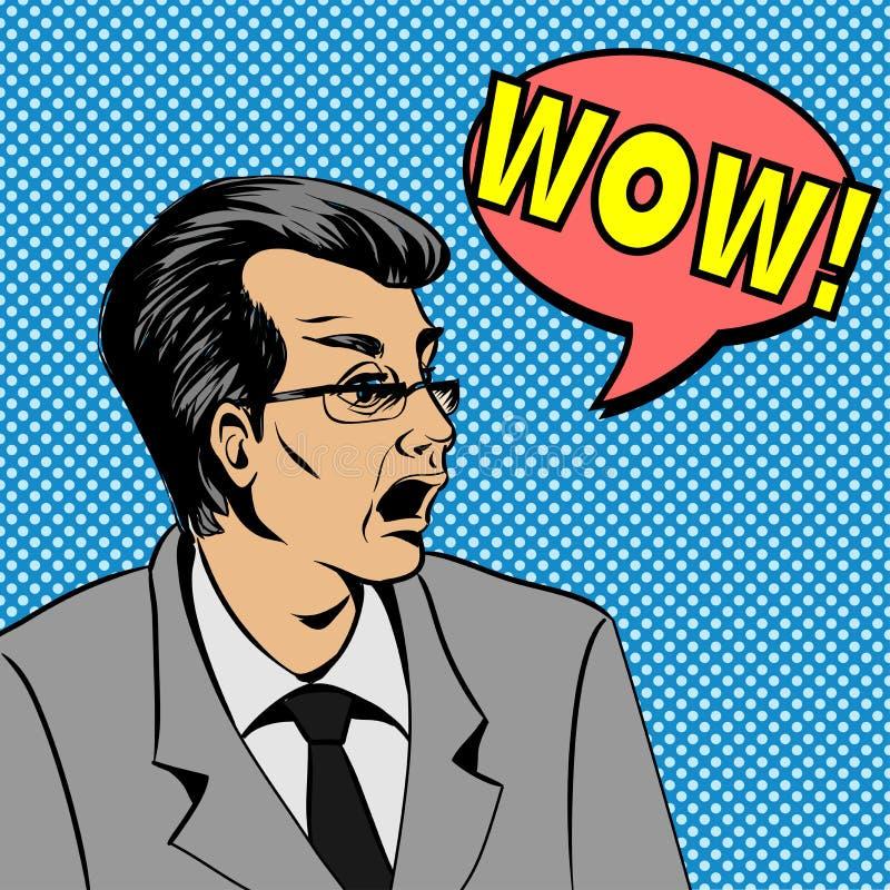 Überraschtes Manngesicht wow-Blase Pop-Art Pop-Arten-Illustration einer komischen Art, Mannspracheblase lizenzfreie abbildung