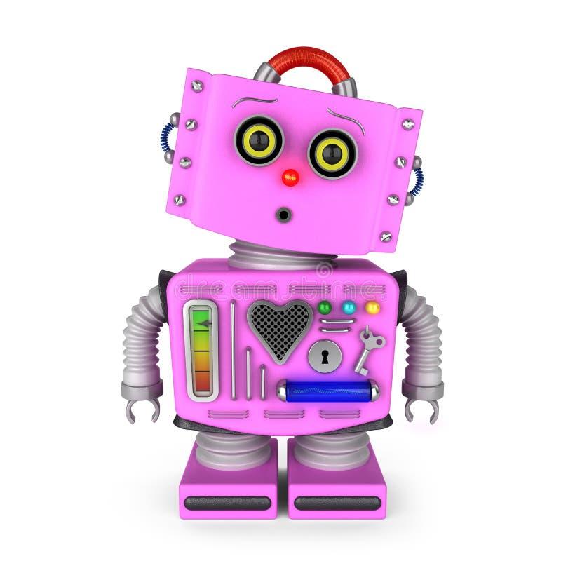 Überraschtes Spielzeugrobotermädchen vektor abbildung