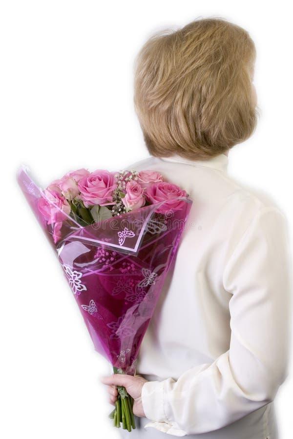 Überraschungs-Rosen-Blumenstrauß stockfotografie