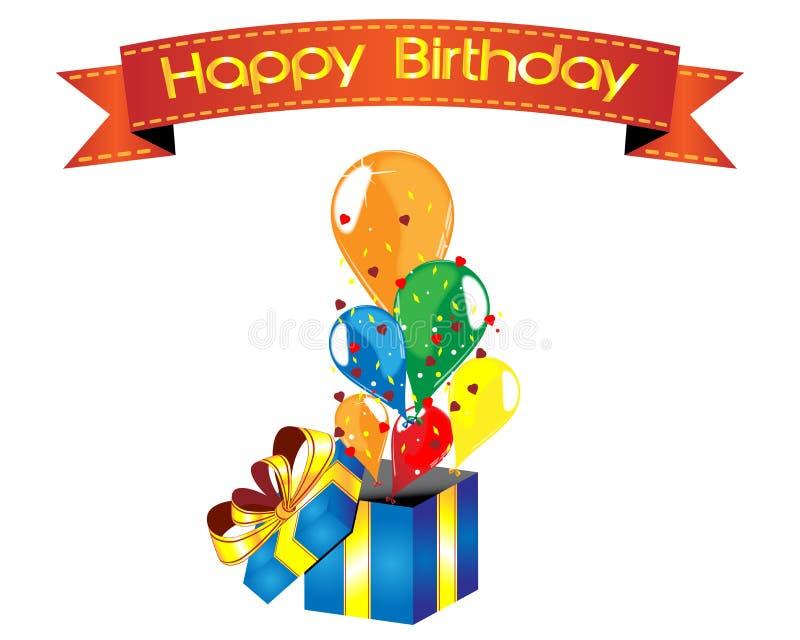 Überraschungskasten alles Gute zum Geburtstag mit Ballonen stockfotografie
