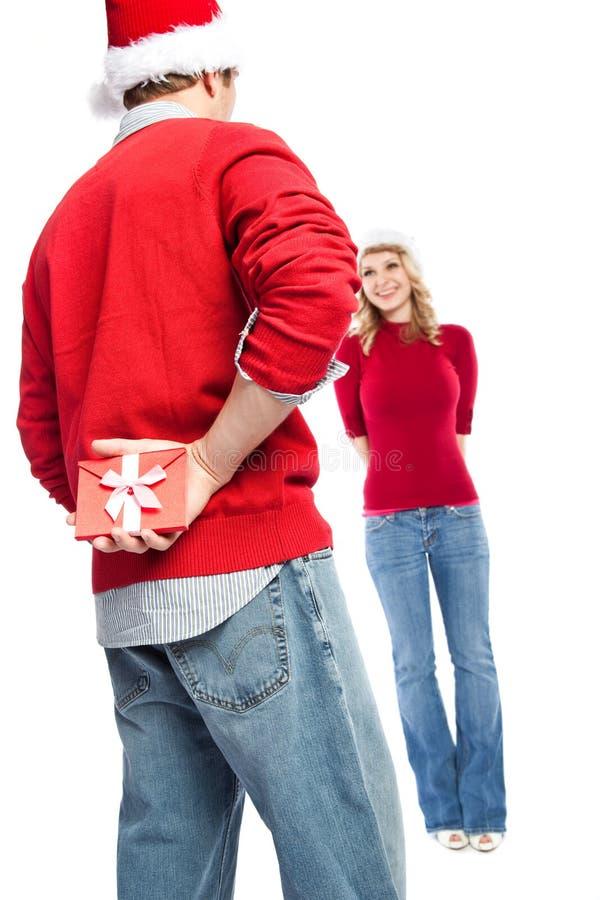 Überraschungsweihnachtsgeschenk stockbild
