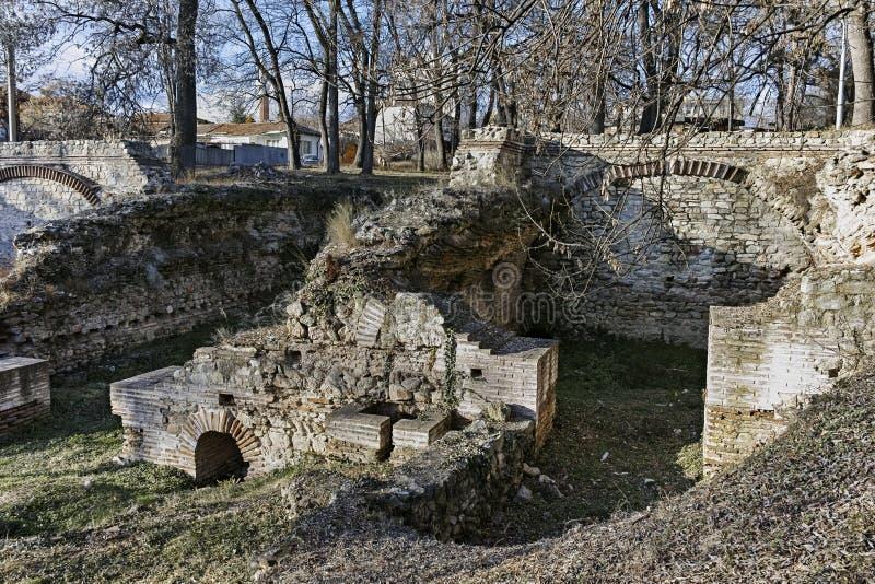 Überreste der builings in der alten römischen Stadt von Diokletianopolis, Stadt von Hisarya, Bulgarien lizenzfreies stockbild