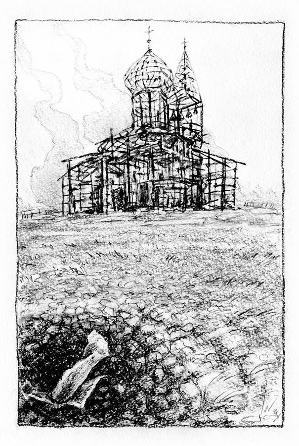 Überreste der gebrannten Kirche stock abbildung