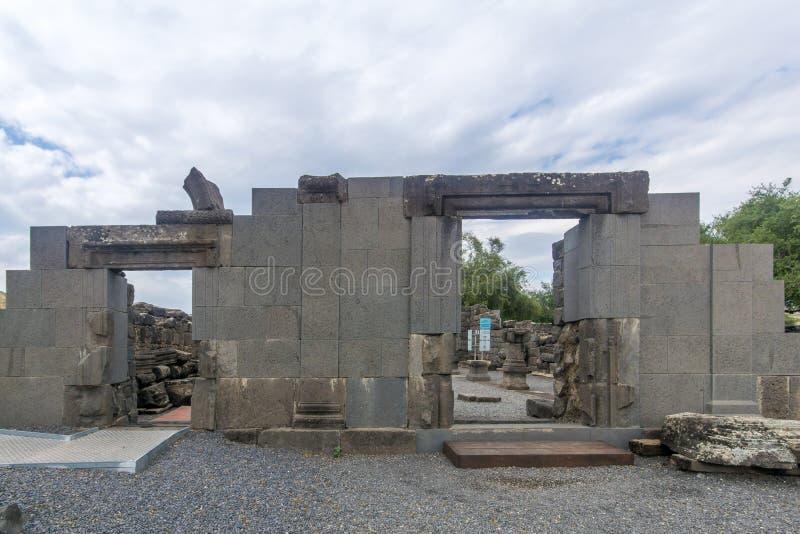 Überreste der Synagoge, in Nationalpark Korazim lizenzfreies stockfoto