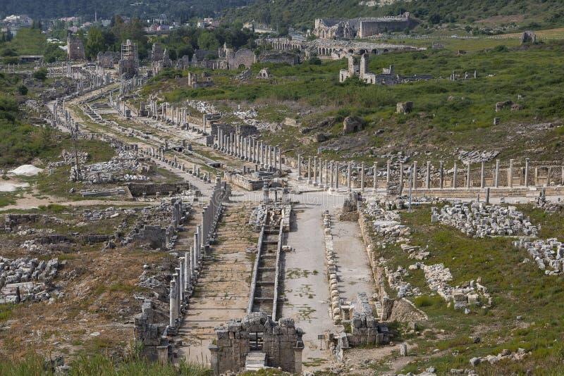 Überreste des alten Standorts von Perge in Antalya, die Türkei stockbild