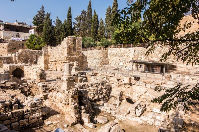 Überreste von Bethesda Pool in Jerusalem lizenzfreie stockfotos