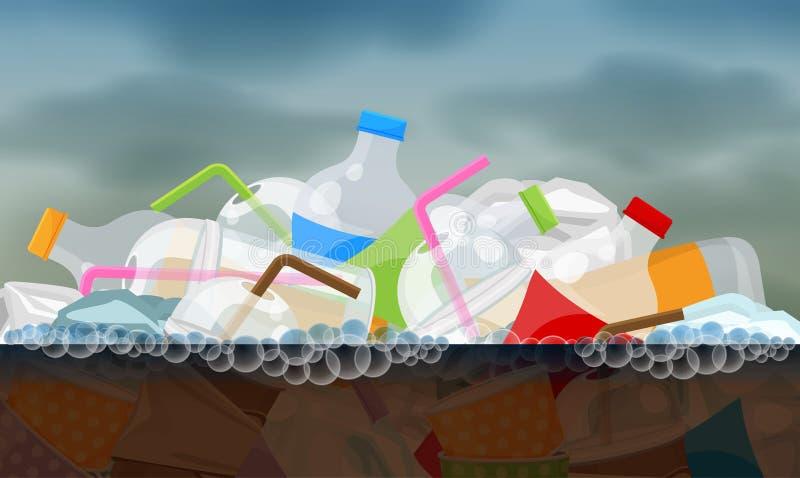 Überschüssiges Plastikfloß auf der faulen schmutzigen Oberfläche des Wassers, Konzeptumwelt-Verschmutzungsfluß, Abfallabfall stock abbildung