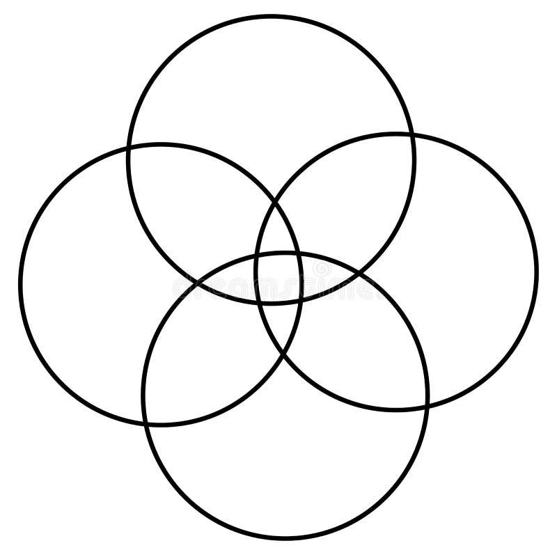 Überschneidenes abstraktes Element der grundlegenden Formen mit geringfügiger Verzerrung vektor abbildung