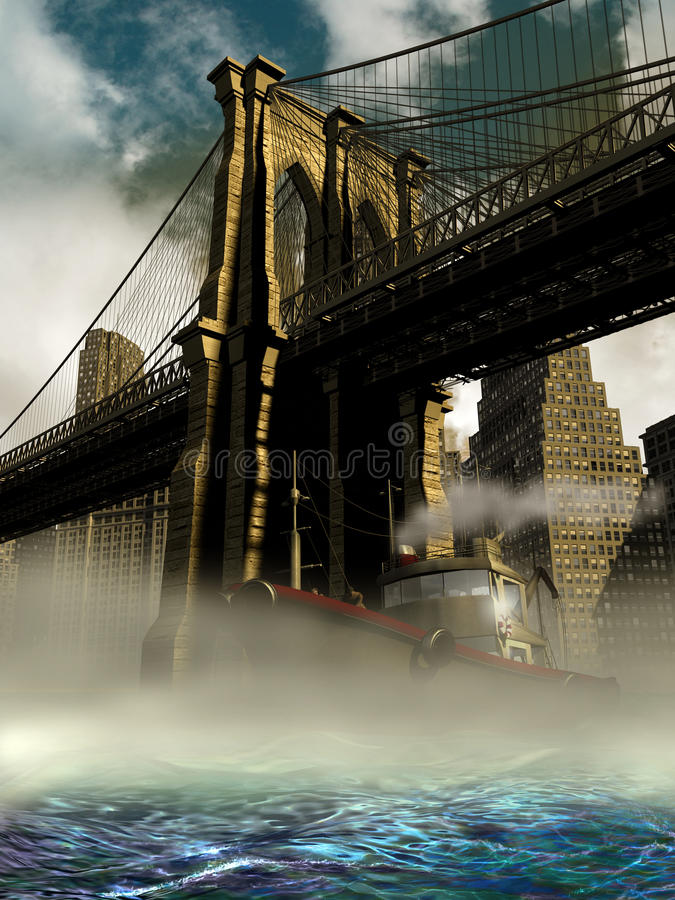 Überschreiten unter die Brooklyn-Brücke lizenzfreie abbildung