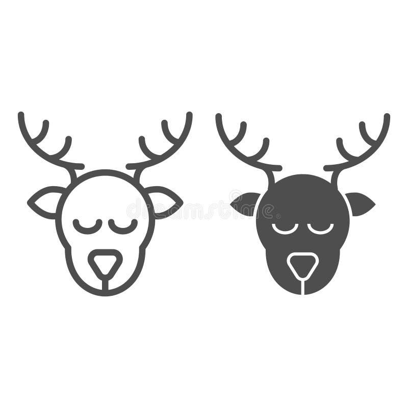 Überschrift der Rotwild und Glyphikone Weihnachtsrotwild-Vektorillustration lokalisiert auf Weiß Elchhauptentwurfs-Artentwurf vektor abbildung