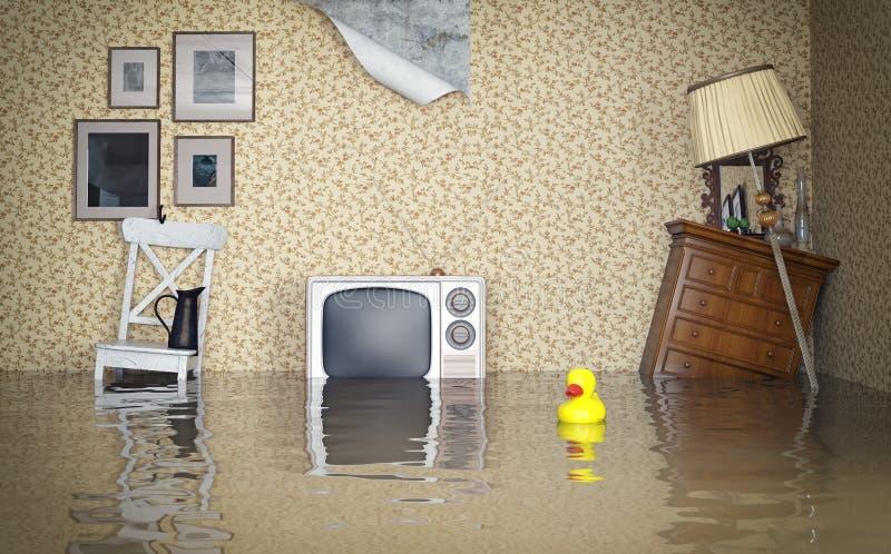 Überschwemmter Innenraum lizenzfreie abbildung
