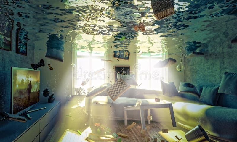 Überschwemmtes Wohnzimmer 3d stock abbildung