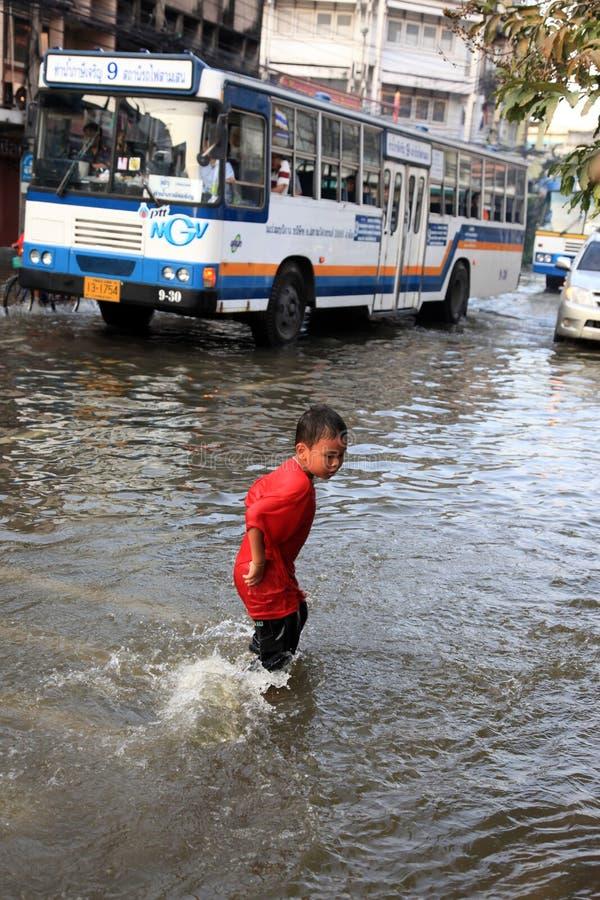 Überschwemmung in Bangkok, Thailand lizenzfreies stockfoto
