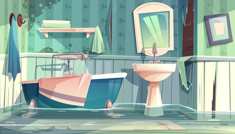 Überschwemmung des Badezimmers im alten Hauskarikaturvektor vektor abbildung