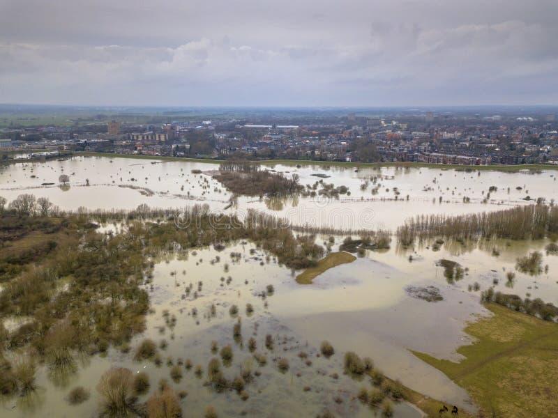 Überschwemmungen in der Nähe der Stadt Wageningen stockfotografie