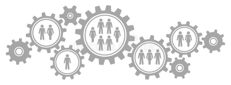 Übersetzt horizontale Grafik neun Grenzgesellschafts-Grau stock abbildung
