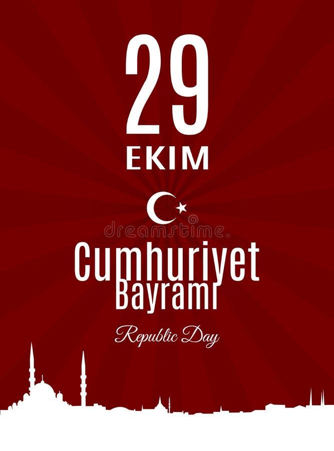 Übersetzung die Türkei-Feiertag Cumhuriyet Bayrami 29 Ekim vom Türkischen: Der Tag der Republik vom 29. Oktober lizenzfreie abbildung
