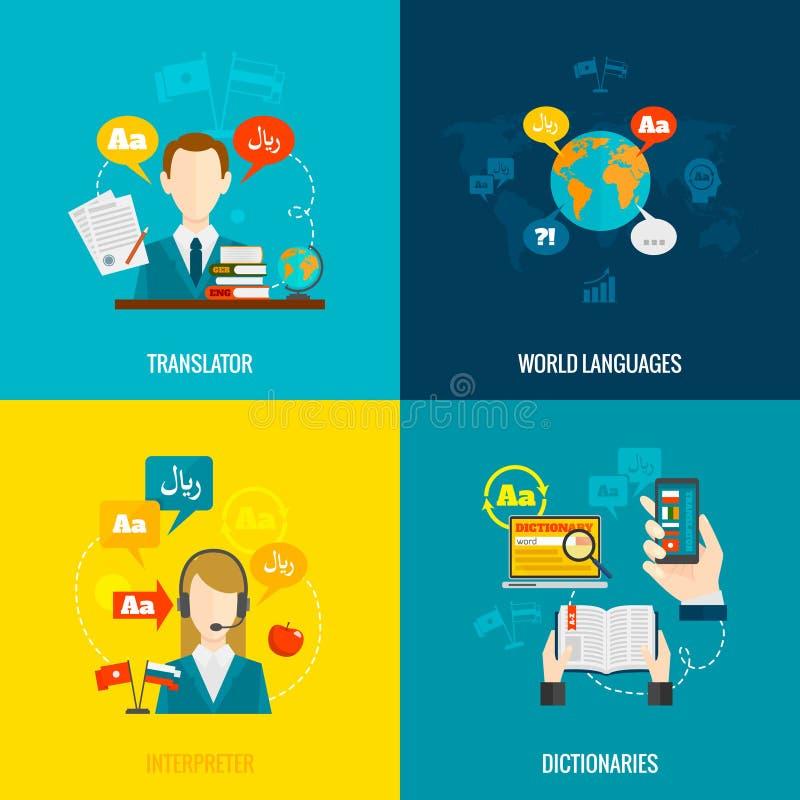 Übersetzung und flache Ikonen des Wörterbuches lizenzfreie abbildung