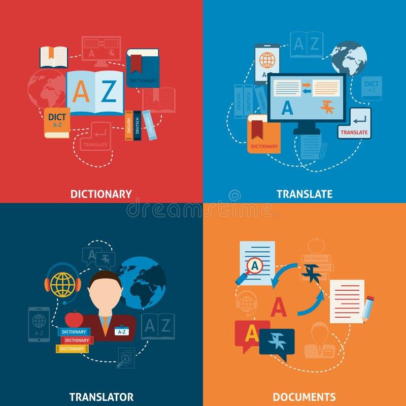 Übersetzung und flache Ikonenzusammensetzung des Wörterbuches lizenzfreie abbildung