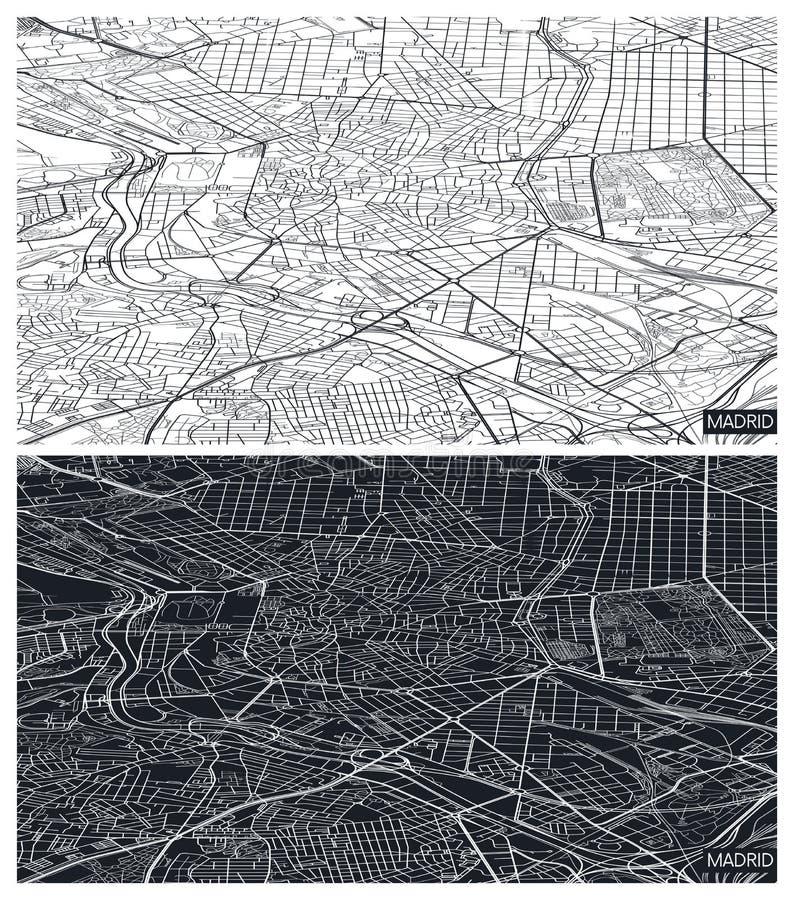 Übersicht über die Stadtpläne Madrid, Schwarzweißplan, Städtisches Raster in der Perspektive, Vektorgrafik stock abbildung