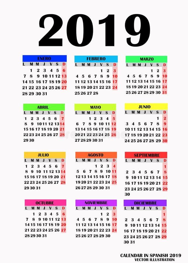 Übersichtliches Design für Kalender 2019 Vektor vektor abbildung