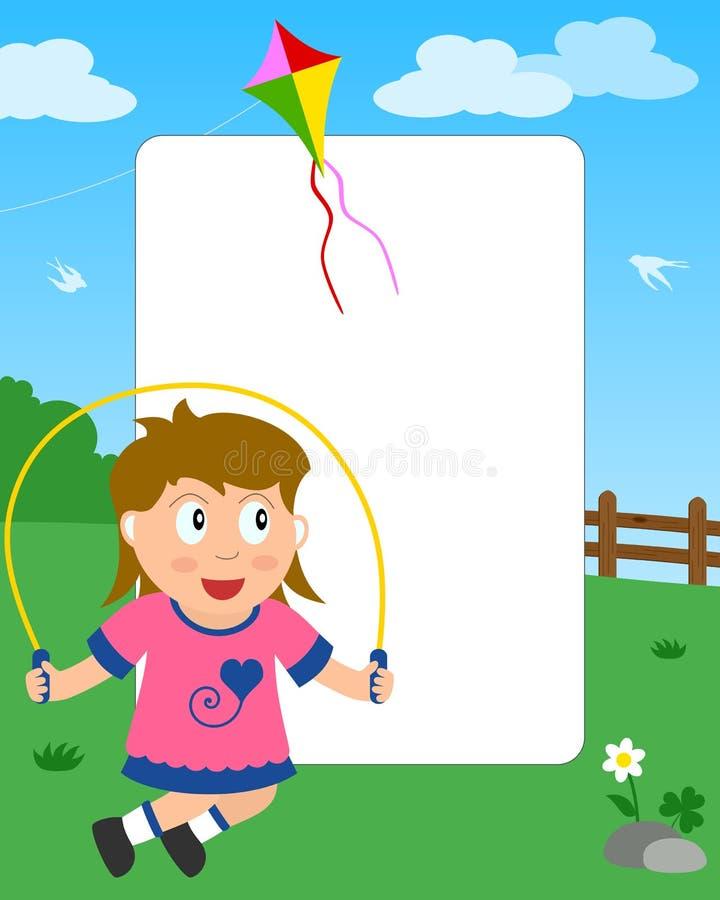 Überspringendes Mädchen-Foto-Feld stock abbildung