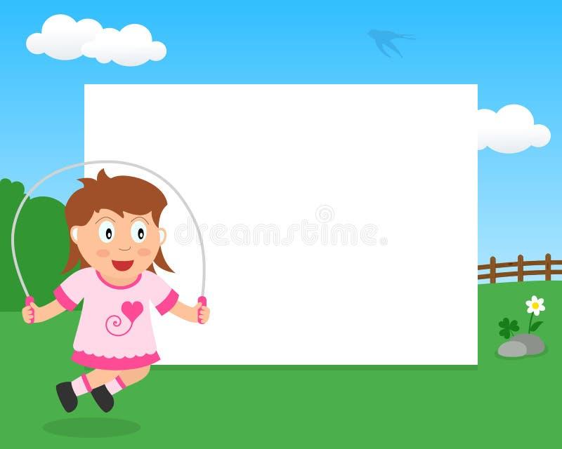 Überspringendes Mädchen im Park-horizontalen Rahmen stock abbildung