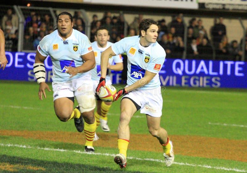 Übersteigen Sie Abgleichung USAP des Rugbys 14 gegen RC Toulon stockbild