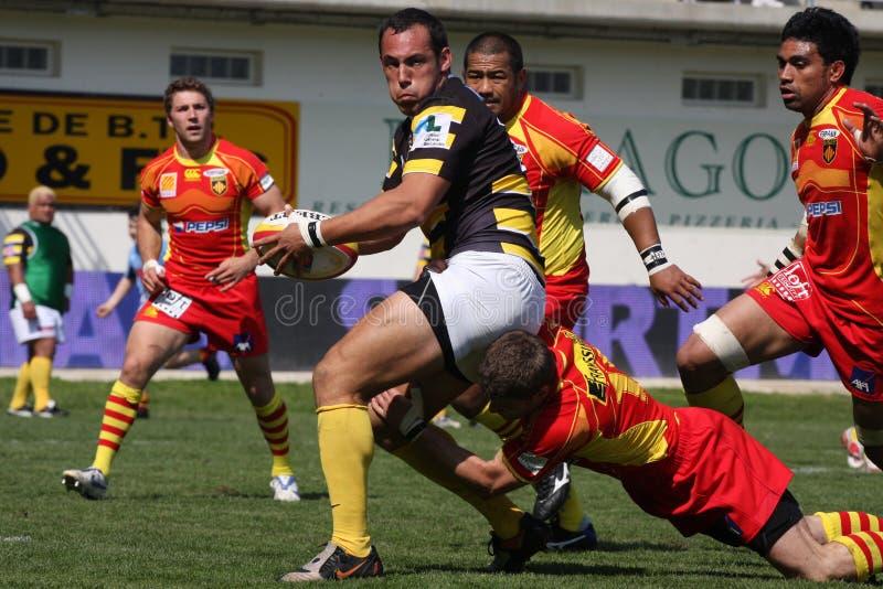 Übersteigen Sie Abgleichung USAP des Rugbys 14 gegen Stade Montois lizenzfreie stockfotos