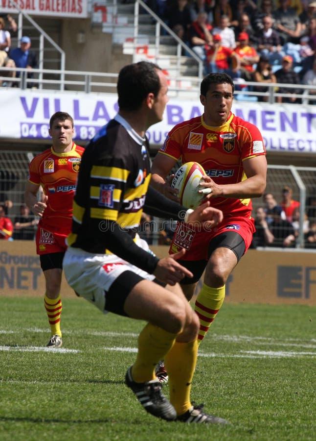 Übersteigen Sie Abgleichung USAP des Rugbys 14 gegen Stade Montois stockfotografie