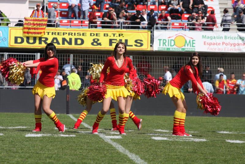Übersteigen Sie Abgleichung USAP des Rugbys 14 gegen Stade Montois lizenzfreies stockbild