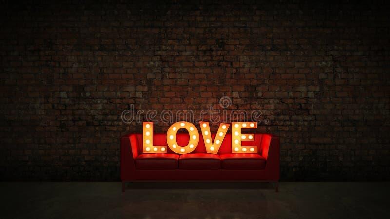 Übertragen helles Liebesbriefzeichen des Festzelts, 3D vektor abbildung