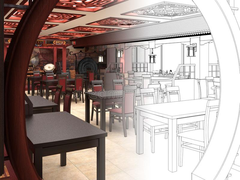 Download Ubertragen Sie Schwarzweiss Skizze Der Innenarchitektur Des Chinesischen Restaurants Stock Abbildung