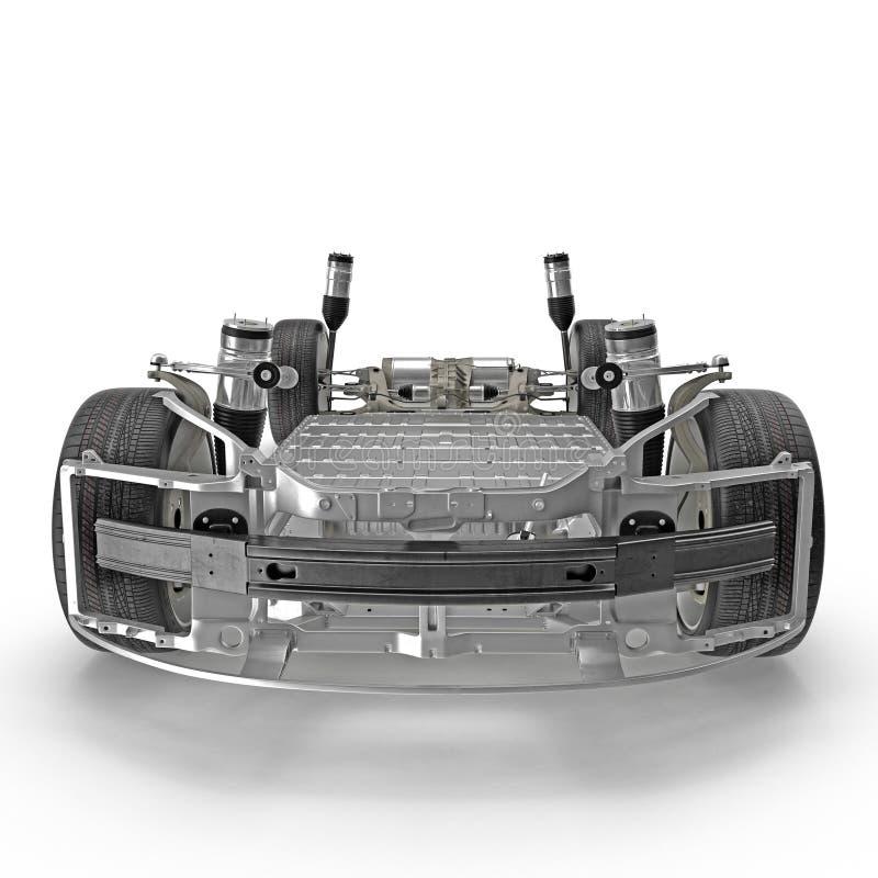 Übertragen Sie von den Elektroautofahrgestellen, die auf Weiß lokalisiert werden Front View Abbildung 3D vektor abbildung