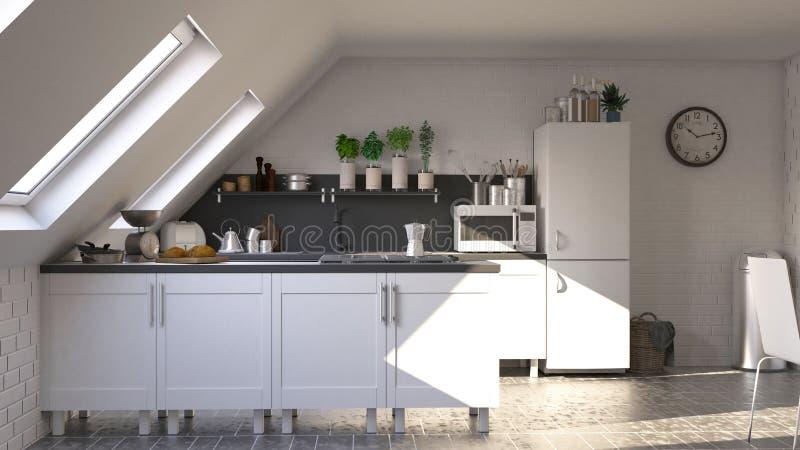 Übertragen Sie von der Küche des Zeitgenossen 3D stock abbildung