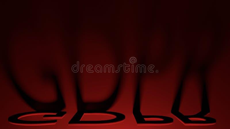Übertragen vorgeschriebene GDPR Buchstabeschatten des allgemeine Daten-Schutzes mit rotem Blitz, 3D stockbild