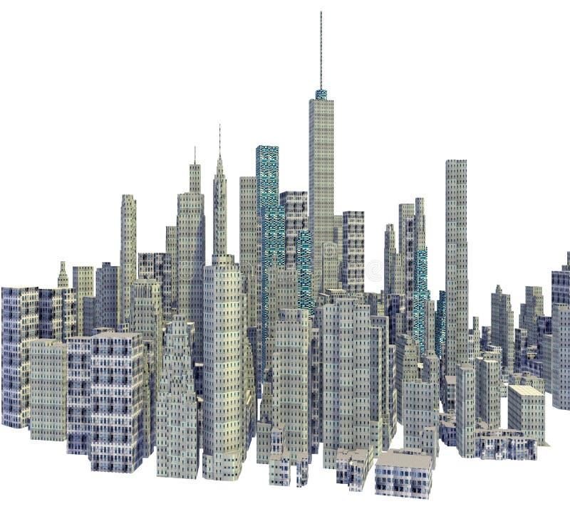 Übertragene Skyline der Stadt 3d lokalisiert vektor abbildung