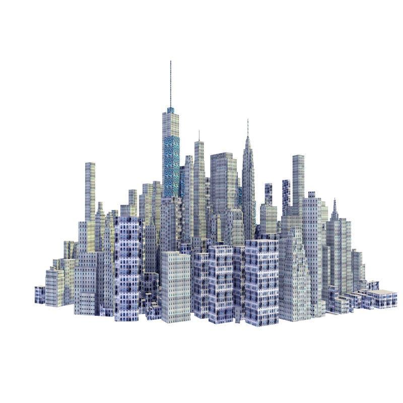 Übertragene Skyline der Stadt 3d lokalisiert lizenzfreie abbildung