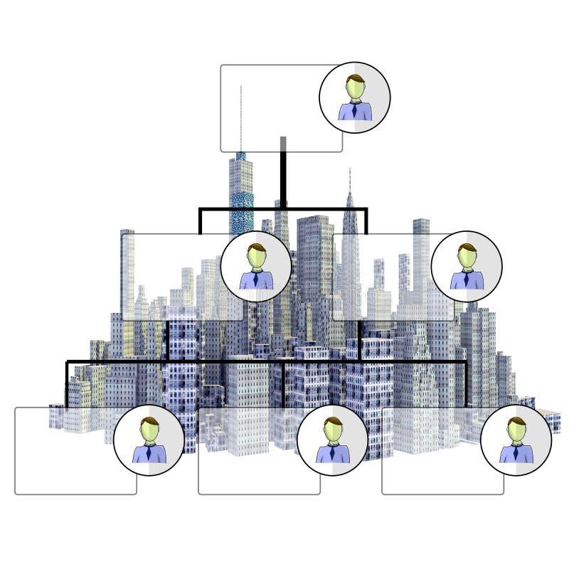 Übertragene Skyline der Stadt 3d mit Organisationsplan vektor abbildung
