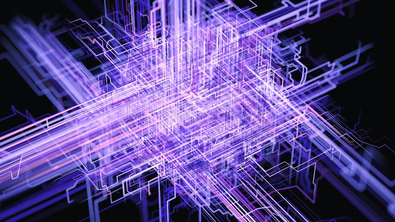 Übertragung von Informationen, von Cloud Computing, von AI und von Big Data lizenzfreie abbildung