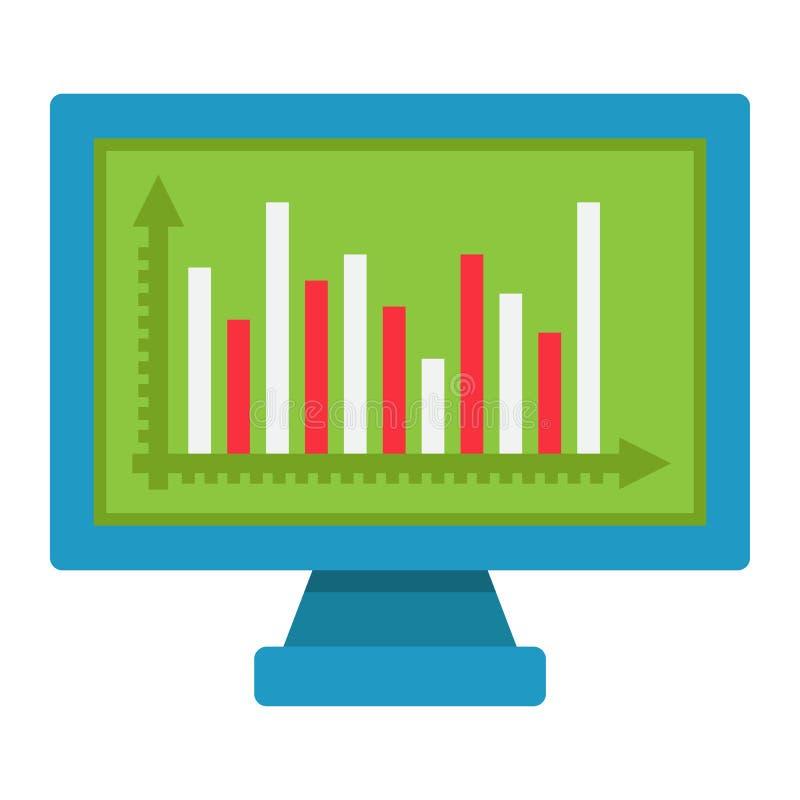 Überwachen Sie flache Ikone, Geschäft und Diagramm des Diagramms stock abbildung
