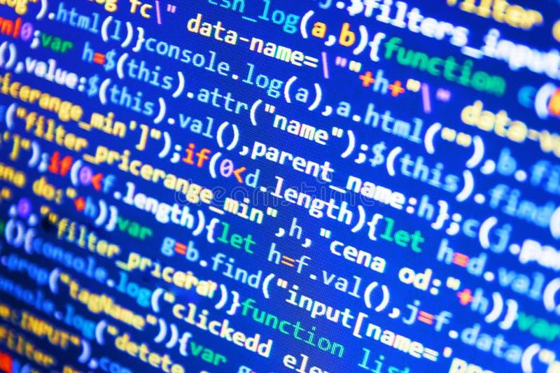 Überwachen Sie Nahaufnahme des Funktionsquellcodes Abstrakter Quellcodehintergrund Arbeitsplatzrechnermonitorfoto stockbilder