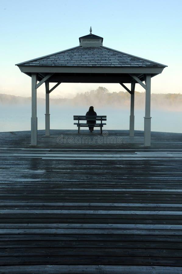 Überwachende Sonne der Frau, als Nebel zu steigen steigt vor See lizenzfreies stockbild