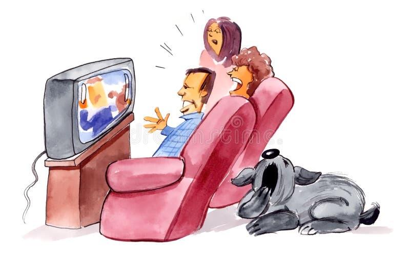 Überwachendes Fernsehen der Familie und gebohrter Hund lizenzfreie abbildung